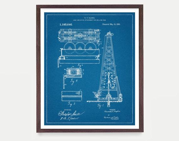 Oil Rig - Oil Derrick Art Print - Drilling Patent - Oil Art - Oil Patent - Patent Poster - Oil - Oil Rig Poster - Oil Derrick Poster