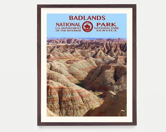 Badlands National Park - Badlands Poster - Badlands National Park Art - National Park Poster - WPA Poster - WPA Art - Badlands wpa - Gift