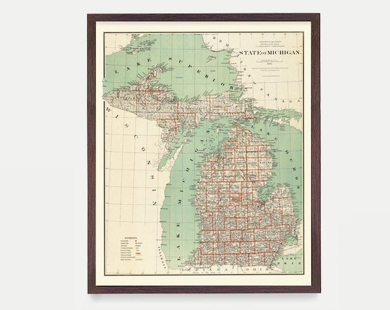 Michigan Map - Michigan Map Art - Map Decor - Michigan Gift - Michigan Art - Great Lakes Map Art - Michigan Wall Art - St Paul - Home Decor