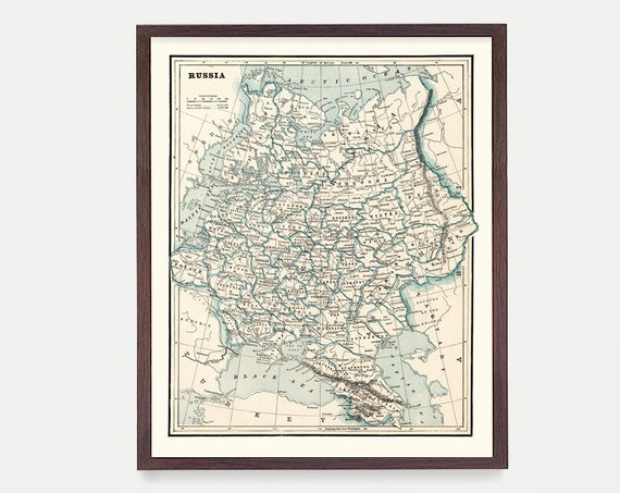 Russia Map - Russia Art  - Russia Poster - Map Decor - Russia Wall Art - Map Art - Vintage Map Art - Russian Decor - Vintage Russia - Moscow
