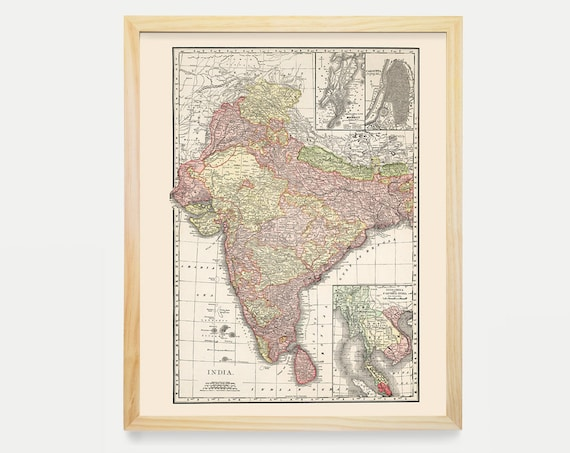 India Map, India Map Art, India Decor, India Art, India Map Art, India Wall Art, Vintage India, Vintage Map, Map Decor, India Gift, Home Art