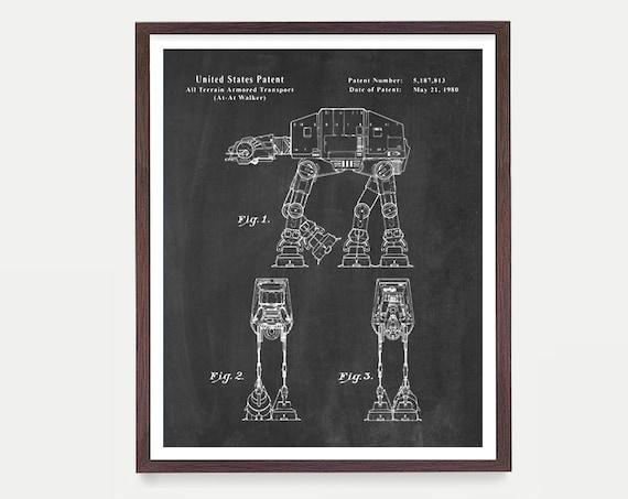 Star Wars Art, AT AT Walker, Star Wars Patent, Star Wars Poster, Star Wars Art, Imperial, At At Patent, Star Wars Wall Art, SW Movie