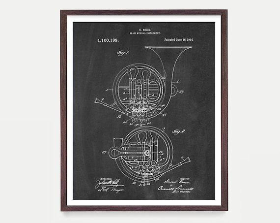 French Horn - French Horn Poster - Horn Poster - French Horn Design - Music Poster - Music Wall Art - Patent Print - Marching Band