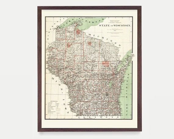 Wisconsin Map - Wisconsin Poster - Milwaukee - Wisconsin Wall Art - Wisconsin Art - Wisconsin Map - Milwaukee Poster -  Lake Michigan