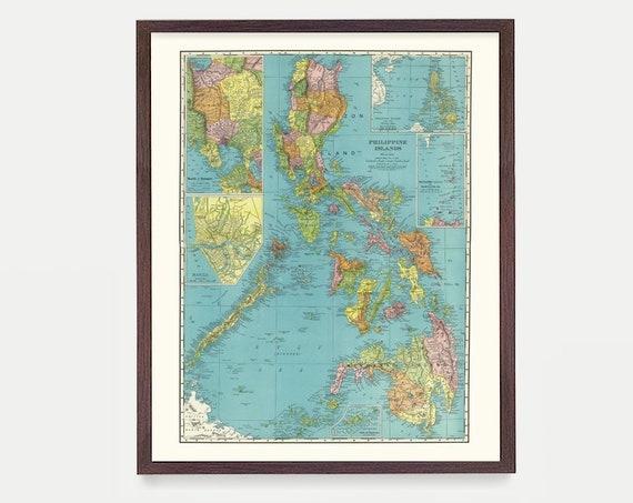Philippines Map, Philippines Art, Philippines Wall Art, Filipino Art, Philippines Poster, Philippines Islands, Map Art, Vintage Map