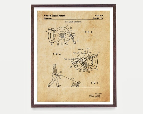 Dog Leash Patent - Dog Poster - Dog Patent - Dogs - Dog Decor - Dog Wall Art - Dog Lover - Veterinarian Patent - Vet Art - Kennel - Dog Gift