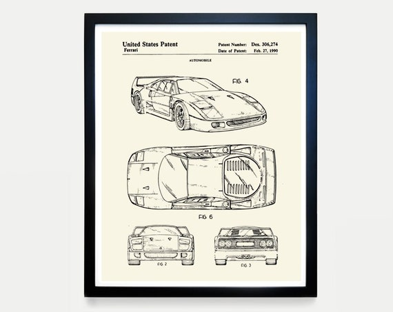 Ferrari Patent Art - Ferrari Poster - Ferrari Art - Car patent - Automobile - Racing - Sports Car  Driving  Ferrari Wall Art - Boys Room Art