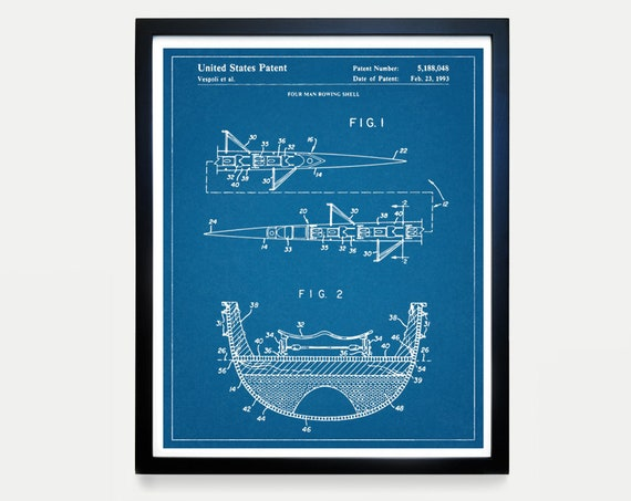 Rowing Patent Art - Crew - 4 Man Row Boat - Sculling Patent - Scull - Oar - Crew Art - Crew Poster - Crew Patent - Rowing Art - Rowing Decor