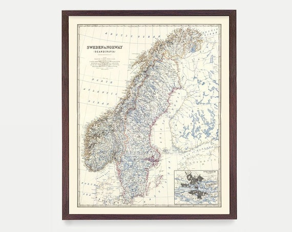 Sweden Map, Norway Map, Sweden Wall Art, Sweden Poster, Travel, Norway Art, Norway Poster, Map Art, Map Decor, Europe, Scandinavia