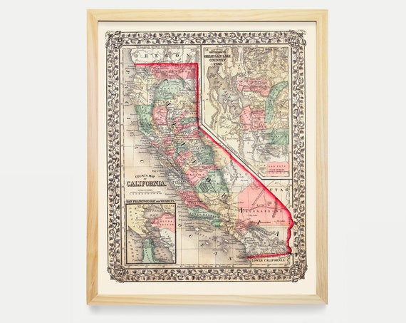 California Map - California Map Art - Vintage California Map - 1867 - Vintage Map - Old Map - Map Art - United States Maps - Old Maps