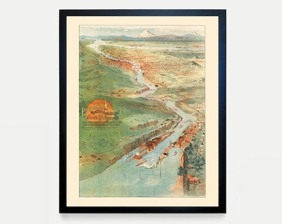 Portland Oregon Poster - Vintage Portland - Portland Decor - Portland Wall Art - Portland Map - Portland Art - Willamette Falls - Home Decor