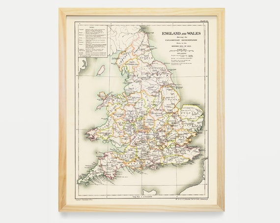 England Map, England and Wales, Wales Map, England Art, England Poster, Antique Map, Vintage Map, Old Map, London England, Map Art