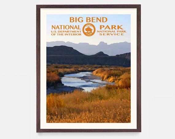 Big Bend National Park Poster, Big Bend Poster, Big Bend National Park Art, National Park Poster, WPA, WPA Poster, Texas Art, Rio Grande