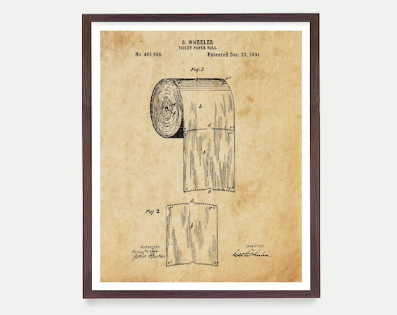 Toilet Paper Design Print - Bathroom Art - Bathroom Wall Print  Patent Print - Patent Poster - Bathroom Humor Funny Poster - Bathroom Decor