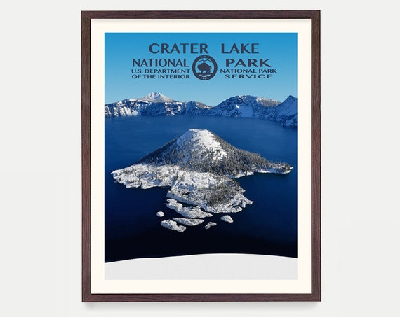 Crater Lake National Park, Crater Lake Poster, Crater Lake National Park Art, National Park Poster, WPA, WPA Poster, WPA Art, Oregon Art