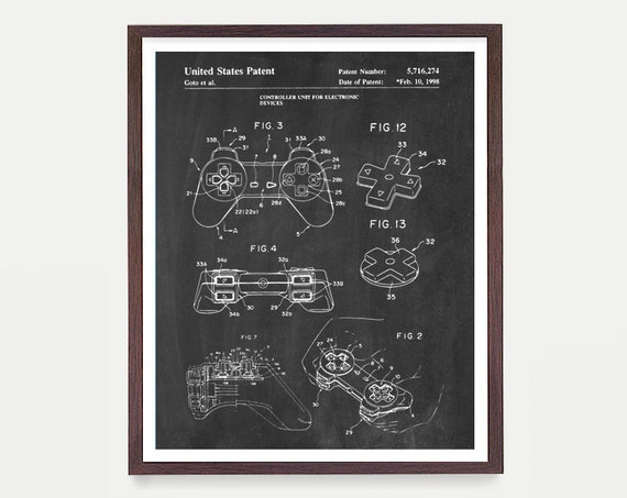 Playstation Patent Poster, Video Game Art, Video Game Poster, Playstation, Video Game Console, Video Game Wall Art, Playstation Game, Gamer