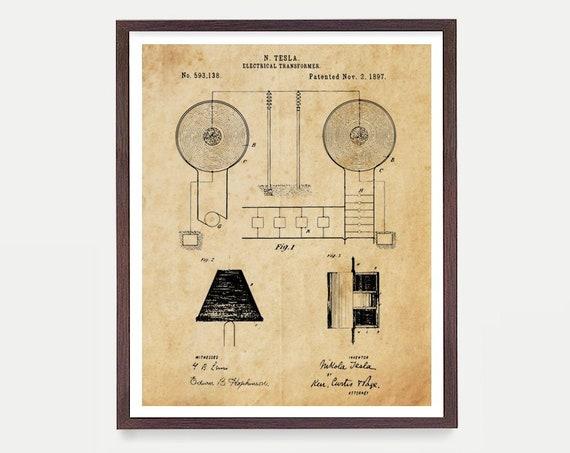 Tesla Patent Poster, Tesla Poster, Tesla Electric Cars, Tesla Patent, Nikola Tesla, Patent Print, Tesla Gift, Tesla Art, Electrician