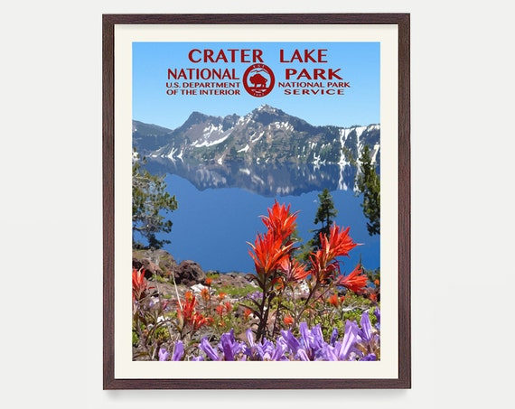 Crater Lake National Park - Crater Lake Poster - Crater Lake National Park Art - National Park Poster - WPA - WPA Poster - WPA Art - Oregon