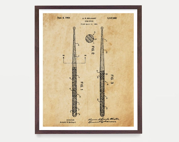 Drum Sticks - Drum Poster - Drum Art - Drummer - Drumming Patent - Percussion - Marching Band - Music - Music Art - Drum Patent Art - Drums