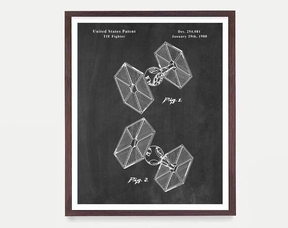 Tie Fighter Patent, Star Wars Patent, Star Wars Poster, Star Wars Art, Sci Fi, Spacecraft, Star Wars Gift, Darth Vader Art, Boys Room Poster
