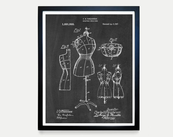 Sewing Patent Art, Dress Form,  Sewing Art, Fashion Patent, Fashion Designer, Clothing Designer, Fashion Poster, Sewing Poster, Sewing Gift