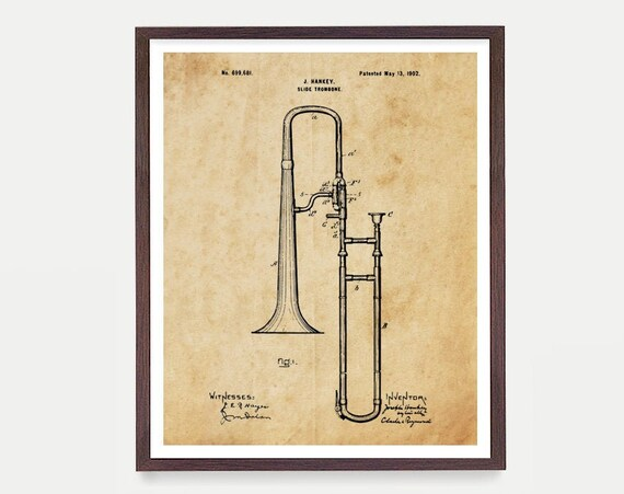 Trombone - Trombone Art - Trombone Patent - Horn - Musical Instrument - Music Poster - Marching Band - Patent Poster - Canvas Wall Art