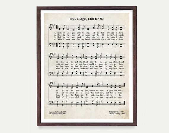 Rock of Ages Hymnal Print, Hymn Poster, Music Decor, Music Print, Hymnal Poster, Hymnal Decor Music Minister Gift Music Gift