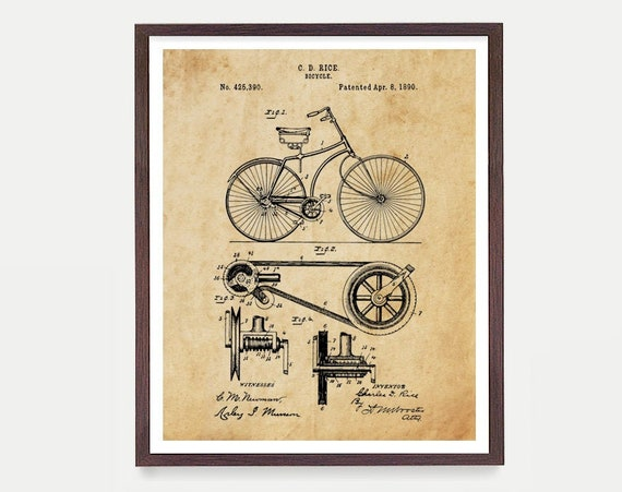 Bicycle Patent Poster Wall Art, Vintage Bicycle, Bike Art, Cycling Art, Cyclist Gift, Bicycle Decor, Apartment Wall Art, Home Decor