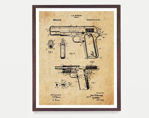 Gun Patent Art, Firearm Patent, Pistol Patent, Gun Art, Gun Decor, Handgun, Handgun Patent, Gun Wall Art, Gun Decor, Firearm Art Canvas