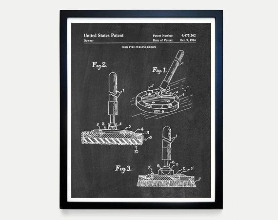 Curling Patent Poster - Curling Art - Curling Decor - Curling Club - Curling Stone - Vintage Curling - Curling Broom - Curling Poster