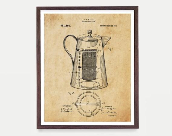 Coffee Patent - Percolator - Kitchen Poster - Kitchen Wall Art - Coffee Art - Coffee Art - Coffee Wall Art - Kitchen Gift - Home Decor