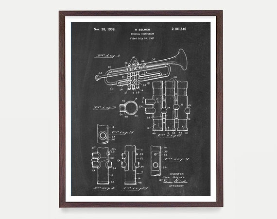 Trumpet Patent, Trumpet Poster, Horn, Music Wal Art, Music Poster, Patent Print, Jazz Art, Marching Band, Trumpet Poster, Trumpet Gift