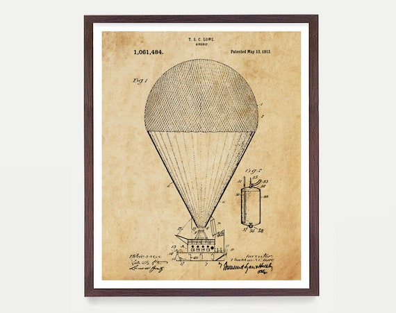 Balloon Poster - Hot Air Balloon - Airship Patent - Balloon Wall Art - Hot Air Balloon Print - Vintage Airship - Vintage Aviation