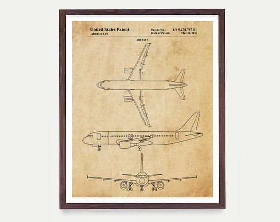 Airplane Patent Art - Airbus A320 Patent - Airbus - Airplane Gift - Airplane Art - Aviation Patent Aviation Poster - Airplane Poster Pilot