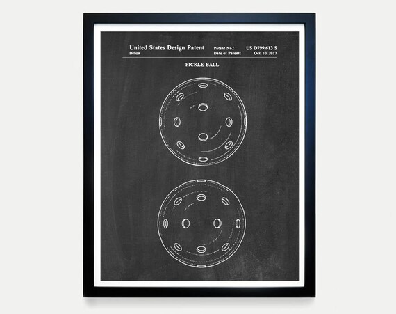 Pickle Ball Patent - Pickle Ball Art - Pickle Ball Poster - Pickle Ball Paddle - Pickle Ball Decor - Pickle Ball Wall Art Pickle Ball Court