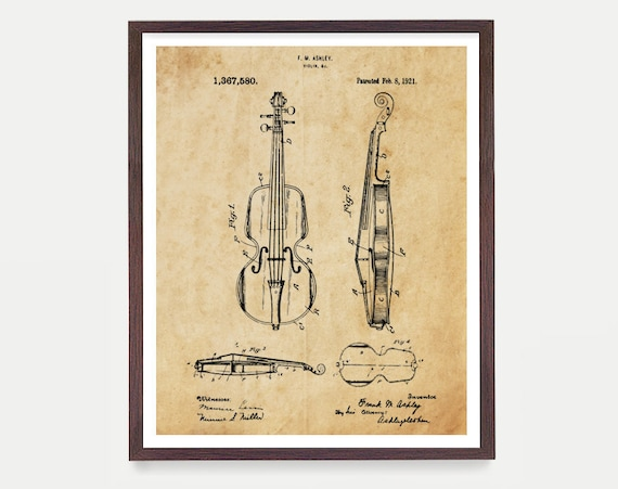 Violin Patent Poster, Violin Poster, Violin Art, Orchestra, Violin Wall Art, Classical Music, Musician Art, Music Poster, Fiddle Patent