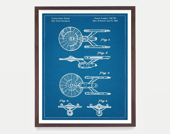 Star Trek Patent Poster, Star Trek Enterprise, Enterprise Patent, Star Trek Art, Star Trek Wall Art ,Star Trek Decor, Star Trek Gift, Sci Fi