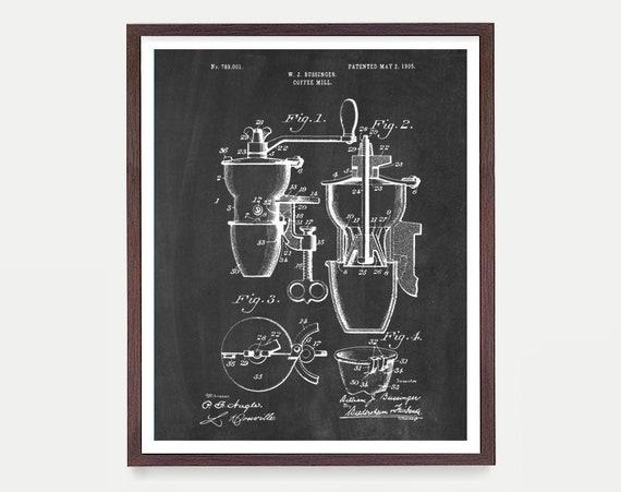 Coffee Poster - Coffee Grinder - Coffee Grinder Patent - Coffee Art - Kitchen Art - Kitchen Wall - Kitchen Decor - Kitchen Gift - Cafe Art