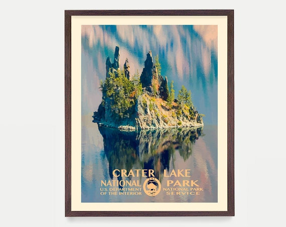 Crater Lake National Park, Crater Lake Poster, Crater Lake National Park Art, National Park Poster, WPA, WPA Poster, WPA Art, Oregon