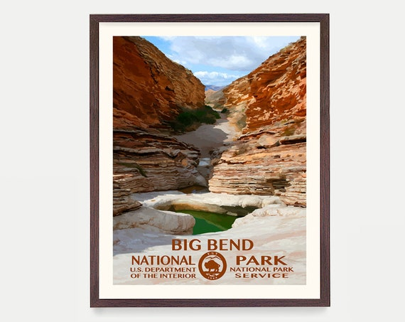 Big Bend National Park - Big Bend Poster - Big Bend National Park Art - National Park Poster - WPA - WPA Poster - Texas Art - Rio Grande