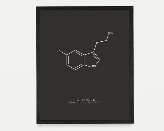 Happiness Molecule Art - Serotonin Molecule Poster - Molecule Art - Molecule Wall Art - Happiness Poster - Nerdy Art - Housewarming Gift Art
