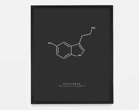 Happiness Molecule Art - Serotonin Molecule Poster - Molecule Art - Molecule Wall Art - Happiness Poster - Nerdy Art - Housewarming Gift Art