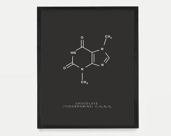 Chocolate Molecule Poster - Molecule Poster - Molecule Art - Theobromine - Chocolate Poster - Chocolate Art - Cocoa - Chocolate Wall Art