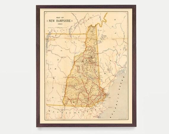 New Hampshire Map, NH Map, Map Art, Map Decor, State Map, New Hampshire Art, New Hampshire Poster, New Hampshire Wall Art, Home Decor
