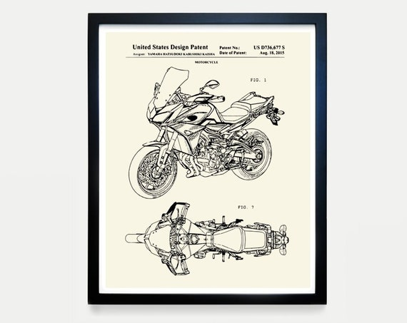 Yamaha Motorcycle Patent Art - Yamaha Poster - Yamaha Art - Motorcycle Art - Motorcycle Patent Art - Motorcycle Poster - Yamaha Wall Art