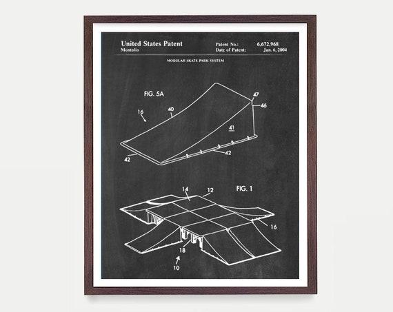 Skate Park Patent - Skate Ramp Patent - Skate Park Art - BMX Poster - BMX Wall Art - X Games Poster - Skate Ramp - Skateboard