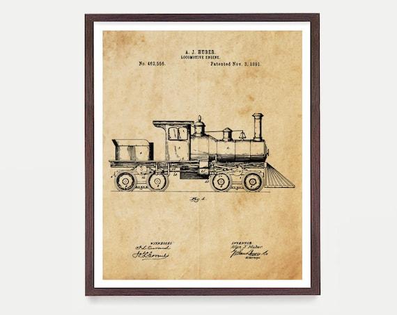 Locomotive - Train Poster - Railroad Art - Locomotive Patent - Train Patent - Train Art - Locomotive Art - Railroad Poster - Railroad Patent