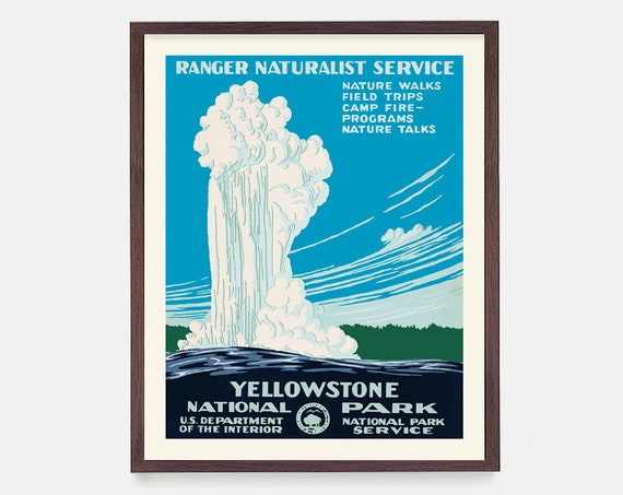 Yellowstone National Park Poster - Old Faithful - WPA Poster - National Park Art - Yellowstone WPA - WPA Art - Yellowstone Poster - Park Art