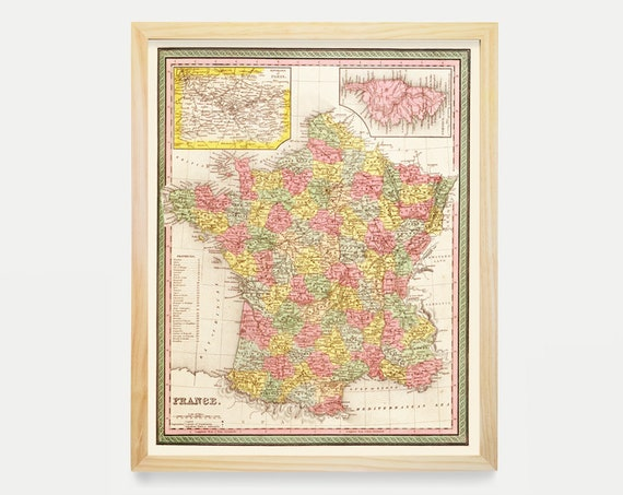 France Map - French Map - Map Art - Map Decor - Europe - France Art - France Decor - Vintage France - French Map - French Art - Paris Art