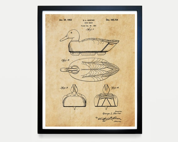 Duck Decoy Patent Art - Duck Hunting Patent - Duck Hunting Art - Hunting Patent - Hunter - Hunting Decor - Hunting Poster - Duck Dynasty